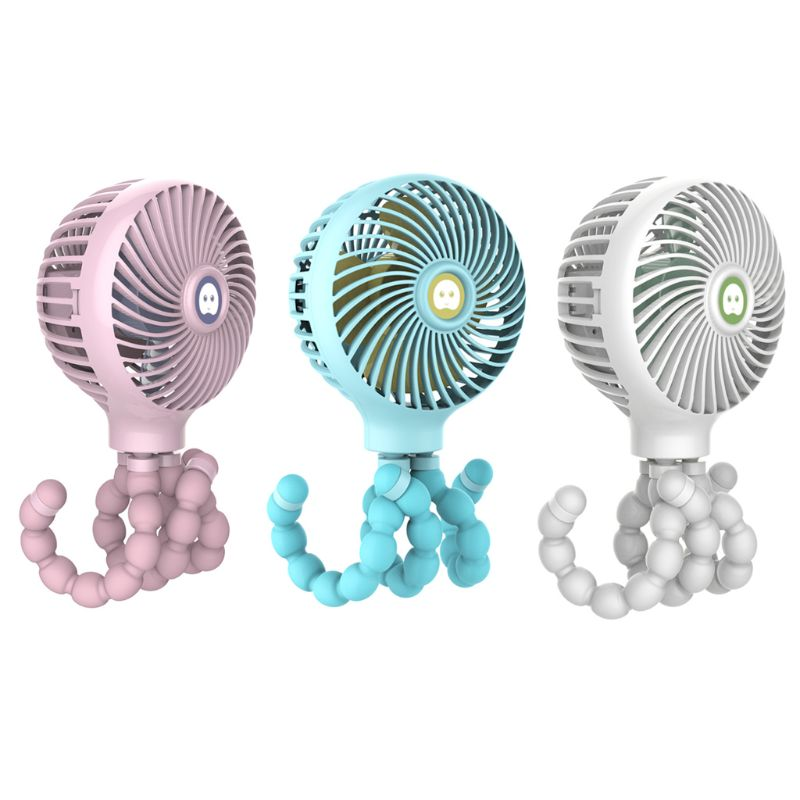 Mini support de forme de pieuvre suspendu Portable refroidisseur de ventilateur de charge USB réglable pour l'utilisation d'étudiant de poussette de bébé