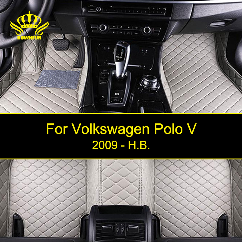 ROWNFUR Waterproof Car Floor Mats For Volkswagen Polo V Protect The Car Clean Leather Floor Mats Auto Interior Car Carpet Mat auto floor mats for honda cr v crv 2007 2011 foot carpets step mat high quality brand new embroidery leather mats