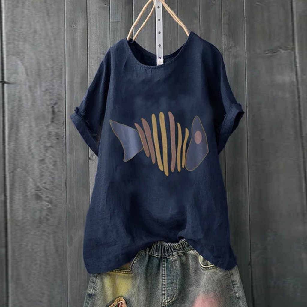 Yazlık t-shirt kadın rahat bayan en tees pamuk Artı Boyutu Kısa Kollu Pamuk Keten O-boyun Baskı Üst T-Gömlek # p3