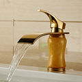 Free shipping Golden brass marble basin faucet hot&cold tap bathroom single handle mixer bath mixer tap J-0383K