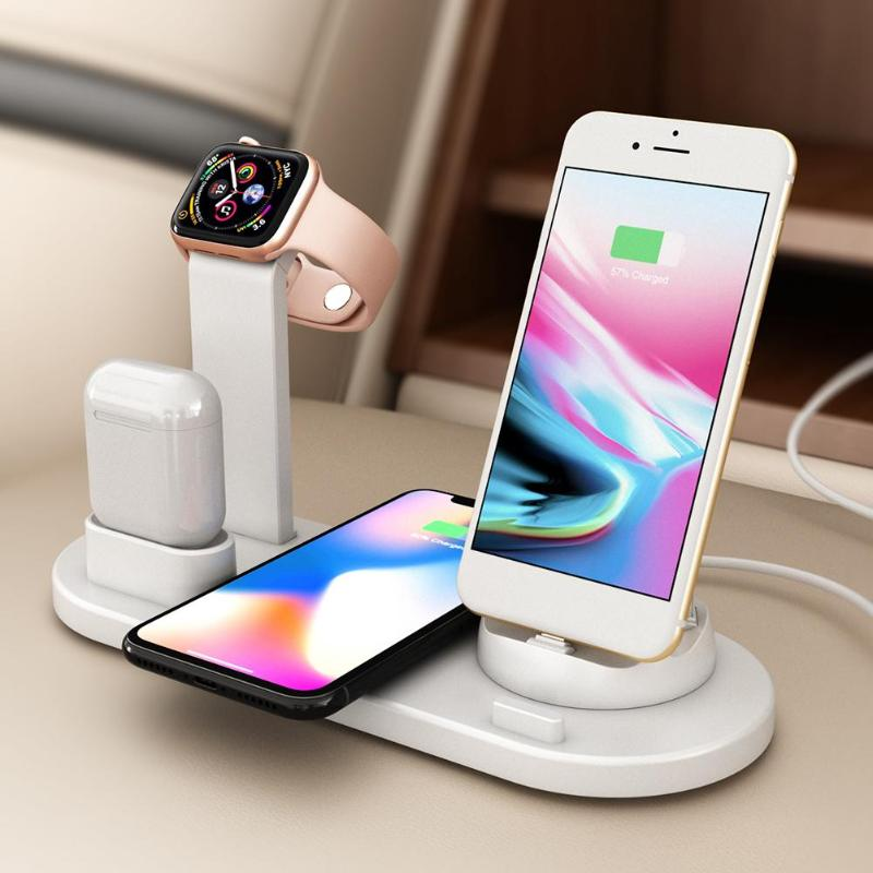 VODOOL 3 In 1 Wireless Charging Dock Holder Station For IPhone Airpods Apple Watch Rotary Charger Base For Android Type-C IPhone
