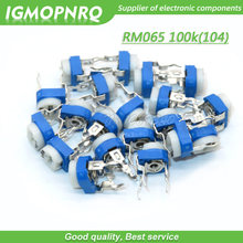 20 pçs trimmer potenciômetro rm065 RM-065 100 k ohm 104 dip trimmer resistores ajustáveis variáveis RM065-104 igmopnrq