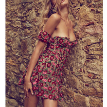 F*love&lemons2017 the new spring and summer vacation with retro flower embroidery Strapless slim dress