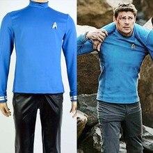 Star Trek Beyond Spock Science Officer Uniform Cosplay Costume Blue Shirt For Men