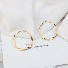 Europe America Hyperbolic Vintage INS Round Circle Simple Hoop Earrings Fashion Jewelry-LAF