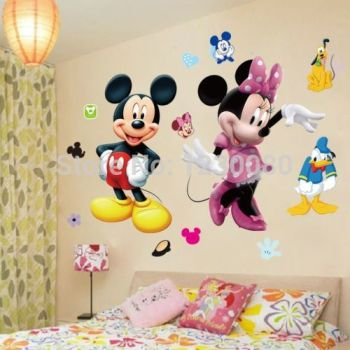 Cartoon Mickey Minnie Wall Area