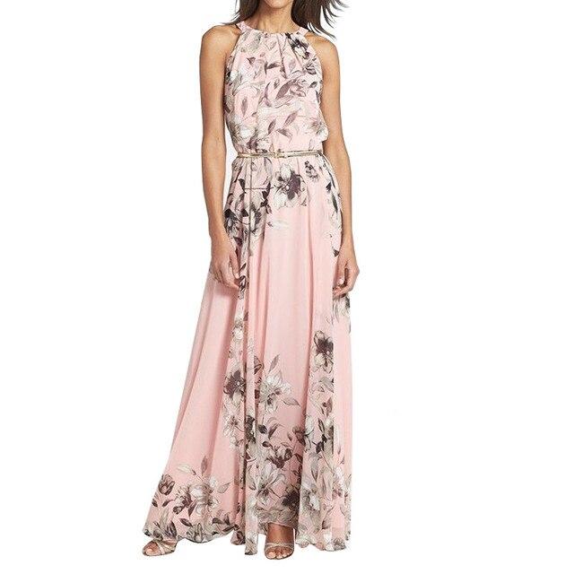 Хит продаж S/M/L/XL осень Для женщин длиной макси Вечеринка платье пикантные Цветочный принт пляжные шифоновые платья пол длина платье