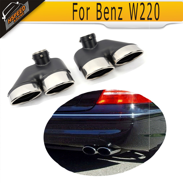 One Pair Stainless Steel Exhaust Tip Auto Car Ler End Tips Fit For Mercedes Benz W220 S500 S430 01 05