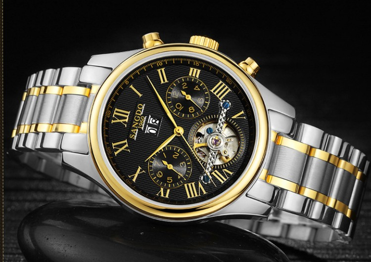 40mm Sangdo Business watch Automatic Self-Wind movement Sapphire Crystal  Mechanical multifunction Men's watch 082 deluxe ailuo men auto self wind mechanical analog pointer 5atm waterproof rhinestone business watch sapphire crystal wristwatch