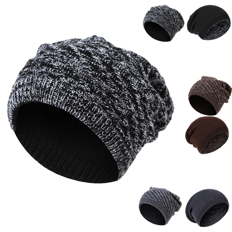 2018 Winter Men's Skullies Gorro Brand Beanie Plus Velvet Hip-hop Hat Knitted Caps Boy Hats Beanies For Men Bonnet Touca Inverno
