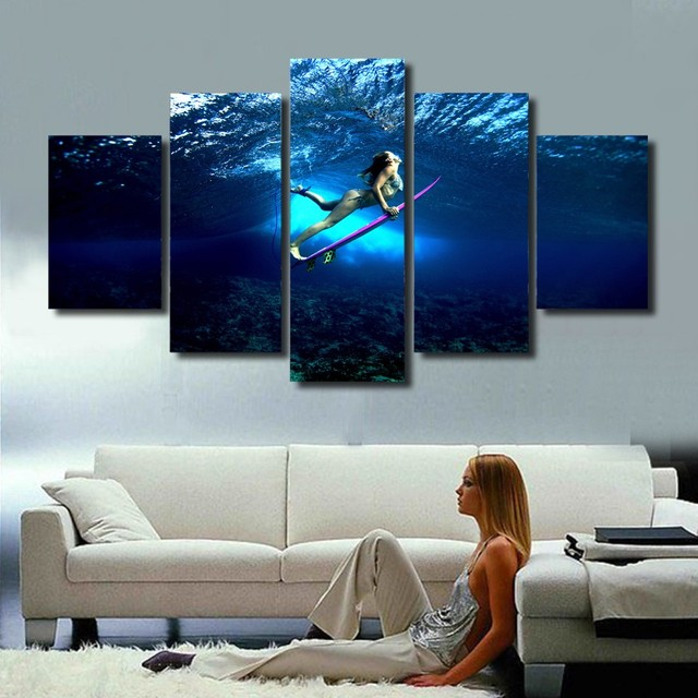 5 Piece Canvas Art Surfing Girl Seascape Wall Art Canvas Painting Decorative Wall Pictures For Living & 5 Piece Canvas Art Surfing Girl Seascape Wall Art Canvas Painting ...