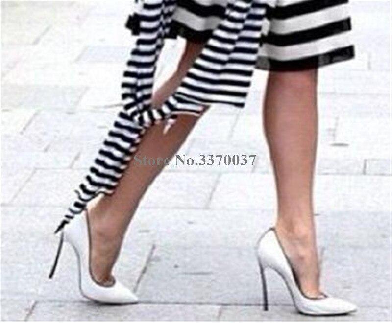 Donne di Disegno di marca del Metallo Punta a punta Tacco A Spillo Pompe Slip on Bianco Blu Rosa Tacchi Alti Pattini di Vestito Formale scarpe da sposa - 3