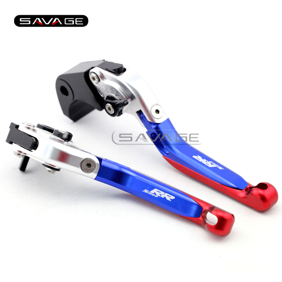 For BMW S1000RR 2010-2016 / S1000RR HP4 2013-2014 Blue+Red Motorcycle Adjustable Folding Extendable Brake Clutch Levers billet alu folding adjustable brake clutch levers for motoguzzi griso 850 breva 1100 norge 1200 06 2013 07 08 1200 sport stelvio