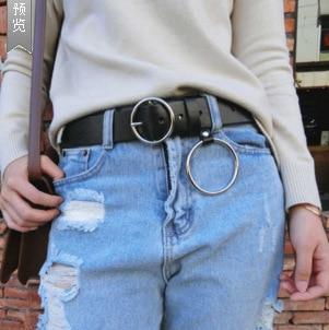 Men Women Unisex Designer Genuine Cow Leather Punk Harajuku Big O Ring Belt Exaggerated Metal Hoop Belt For Men