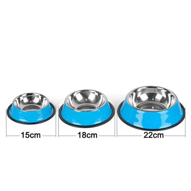 Stainless Steel Pet Bowls for Dog 3 Colors Puppy Cats Food Water Feeder Pets Supplies Feeding Dishes Dogs Bowl S/M/L
