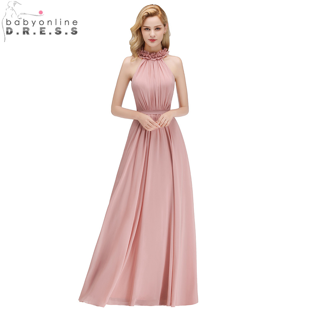 2019 New Dusty Rose Halter   Bridesmaid     Dresses   Pleat Zipper Sleeveless Chiffon Wedding Party   Dresses   Long Prom Gown   Dresses