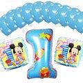 С днем рождения украшения Минни Микки воздушный шар розовый Синий шар Количество Гелия Фольгированные Шары Ребенок первый День Рождения латексные шары