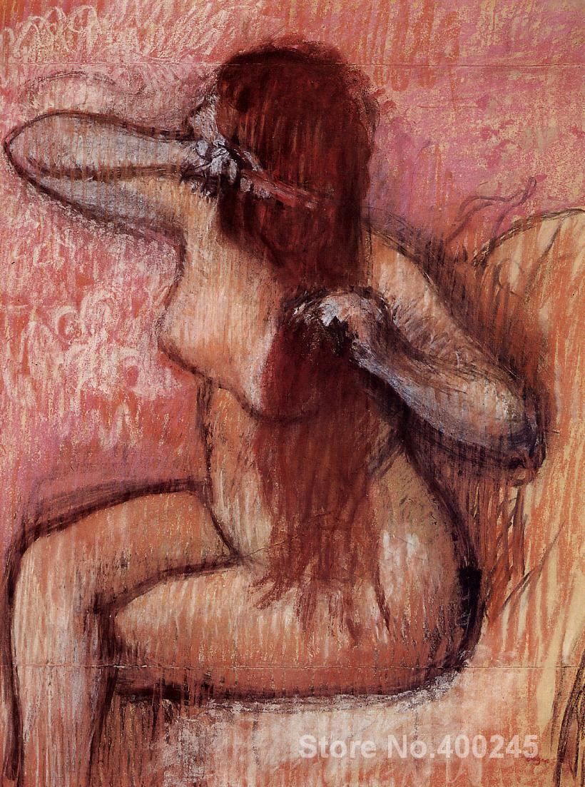 Seated <font><b>Nude</b></font> <font><b>Combing</b></font> <font><b>Her</b></font> <font><b>Hair</b></font> Edgar Degas painting Classical art Hand painted High quality