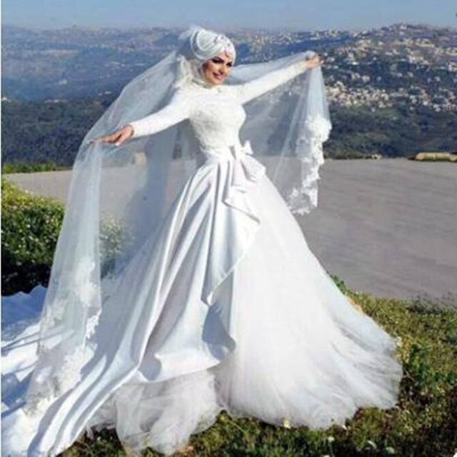 Elegant Islamic Wedding Dresses Ball Gown Full Sleeve With Hijab Arab Lace Muslim Wedding Dress 2017 Robe De Mariage Musulman