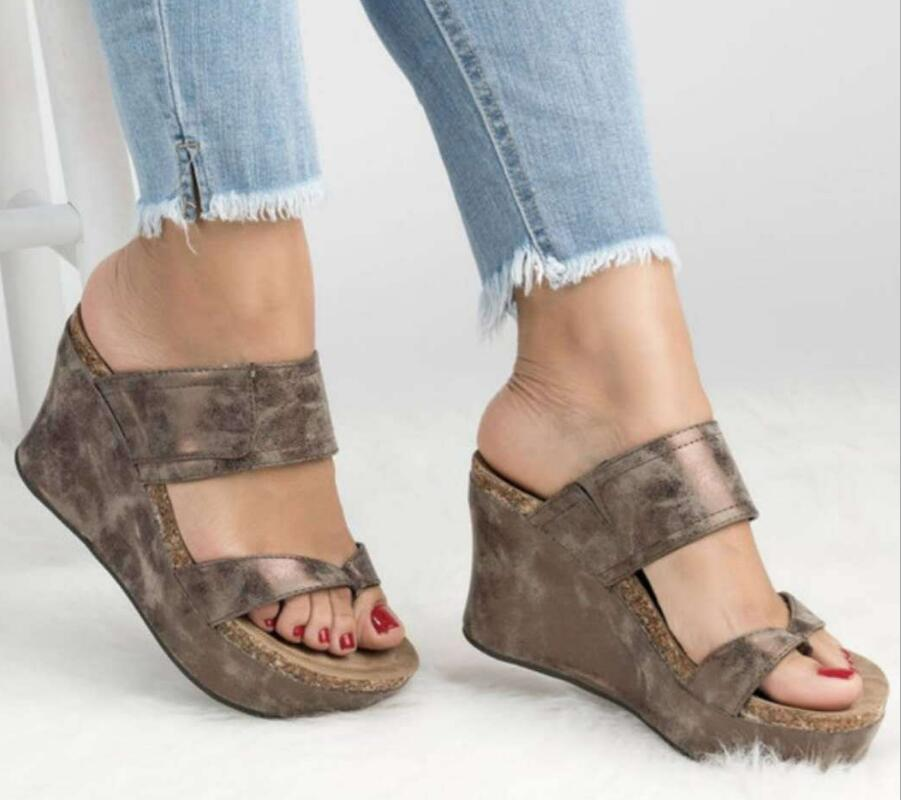 D'été F180224 Dames Wedge Brown Sandales Talon Mujer Thong Chaussures Cru Zapatos Chunky Pantoufles Flip Glisser Haut Femmes Femme Chaussure dwTqFwgr