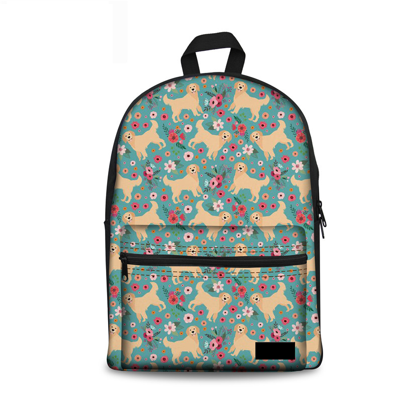 Noisydesigns Bagpack Golden Retriever Flower Printing School Backpack Girls Mochila Escolar Mujer Female Brand Rucksack