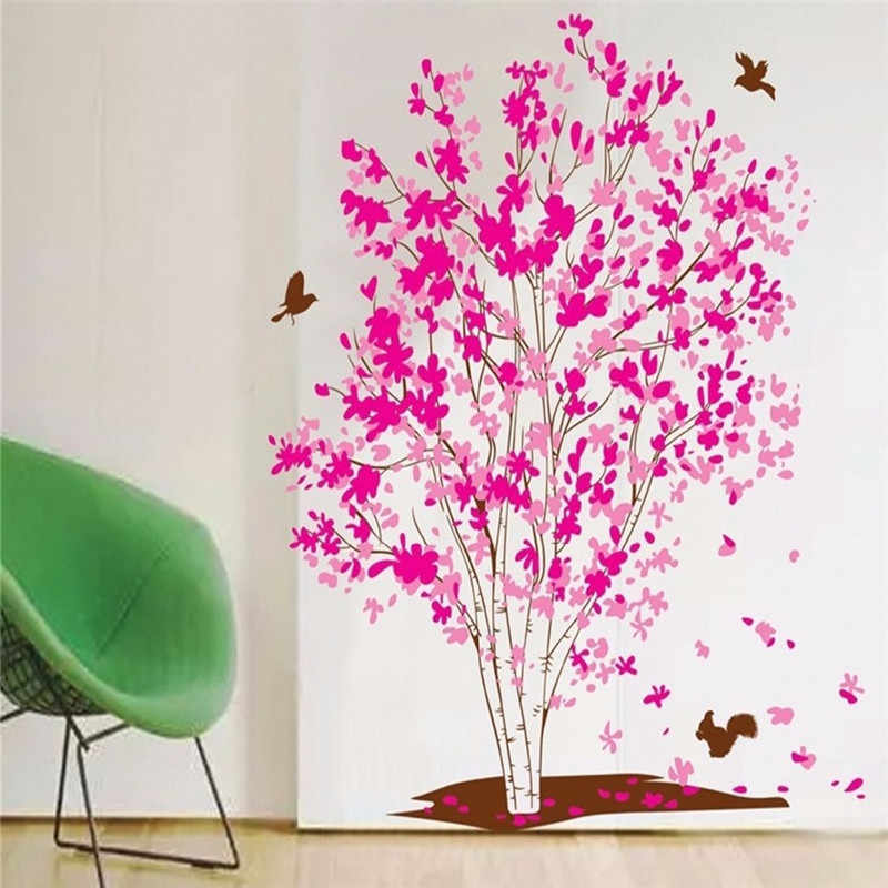 Fantasy Pink Tree Wall Stickers For Bedroom Home Decoration Plant Plane Mural Pastrol Window Removable Diy Wallposters Hot