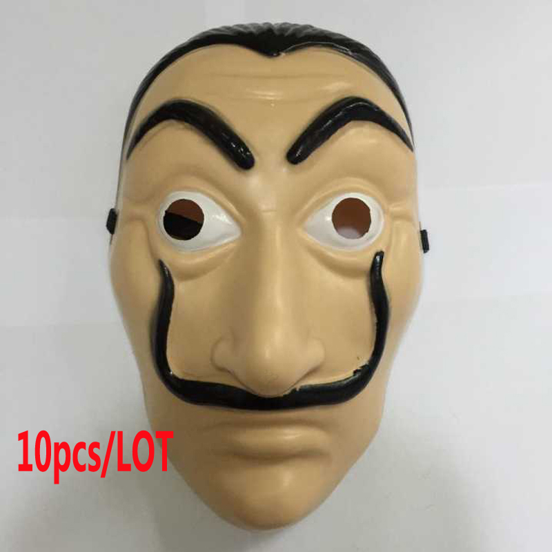 10pcs/lot Dali Mask Halloween Carnival Party Funny Tools Paper House La Casa De Papel Dali Plastic Mask