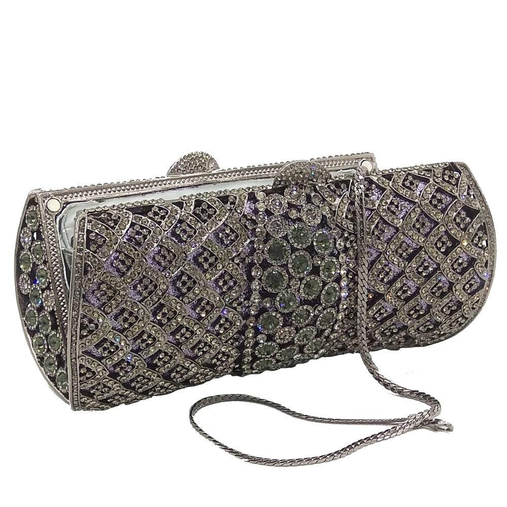 aa4381ca2 Deslumbrante Socialite de lujo gris mujeres embrague bolsos de noche de  cristal Diamante de novia embragues Metal Hardcase bolso