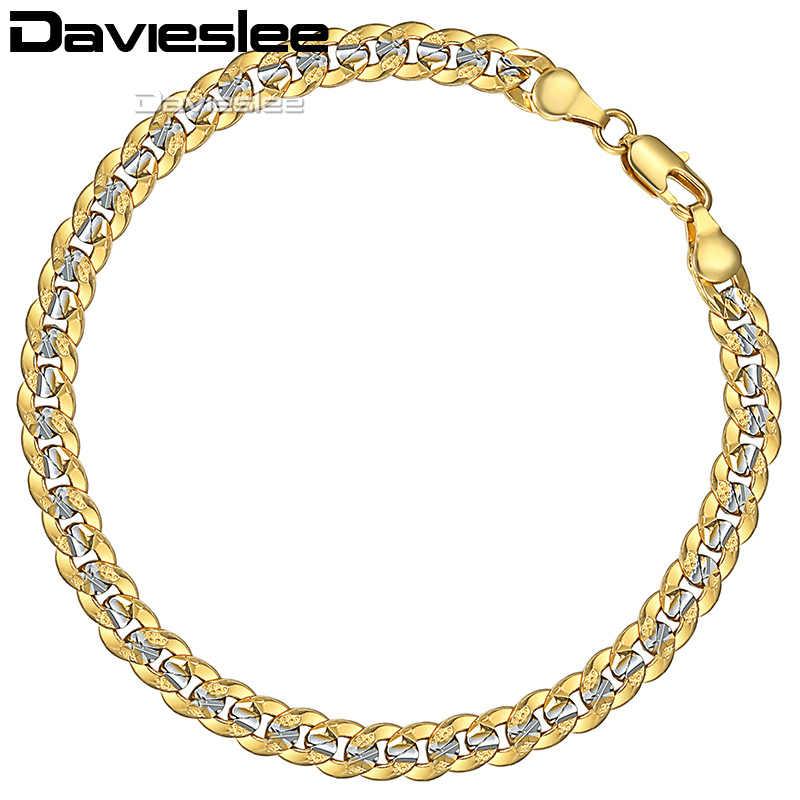 Pulsera Davieslee para hombre con corte martillado con cadena de enlace cubana, pulsera de plata y oro amarillo para hombre, joyería, envío directo de 6mm DGB292