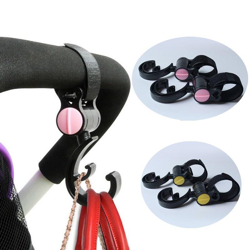 2pcs Multipurpose Belt Baby Pram Stroller Pushchair Swivel Hanger Hooks Carriage Accessories Rotatable Carrier Holder