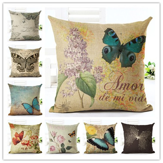 Butterfly  Style 45*45cm Square Home Decorative Pillow Music Note Printed Throw Pillows Car Home Decor Cushion Cojines