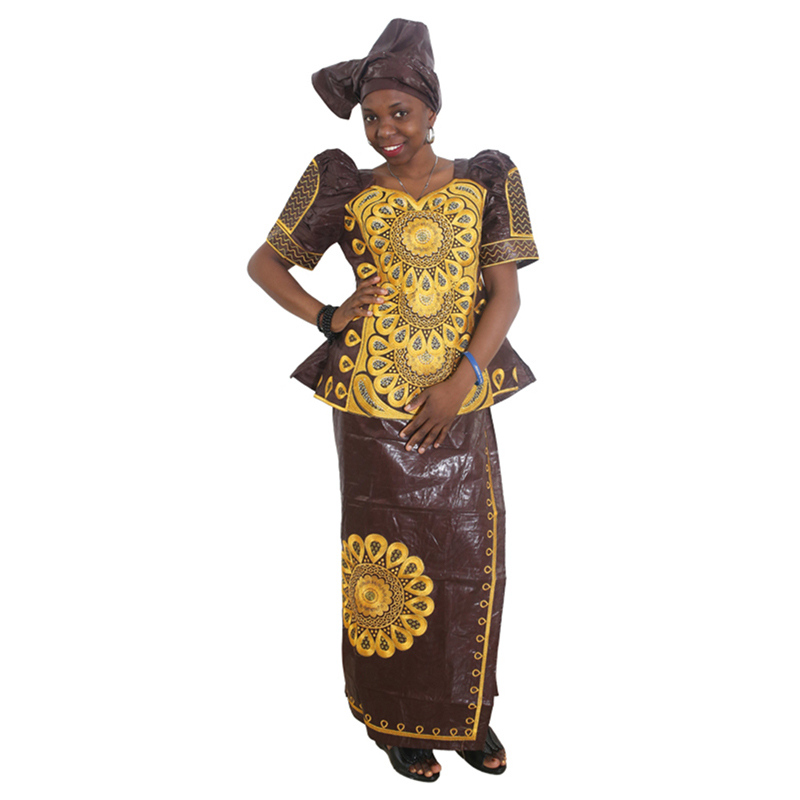 Md Dashiki African Dresses For Women Bazin Riche Skirt Short Rapper With Scarf Three Pieces One Set South Africa Female Clothing Rich And Magnificent