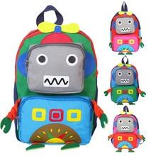 New Hot Sale school bags Cute 3D Robot Toddler Backpack Softback Korean Mini Schoolbag Kids Kindergarten Girls Gifts Mochila 1-3 2016 new cute 3d panda print schoolbag teenager nylon fabric backpack girls book bags for women mochila packbag kids van owl