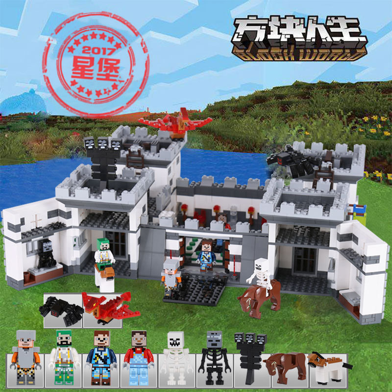 Xingbao 09005 legoed minecraft series 성전 성 세트 어린이 빌딩 블록 벽돌 교육 어린이 장난감 모델 선물-에서블록부터 완구 & 취미 의  그룹 1
