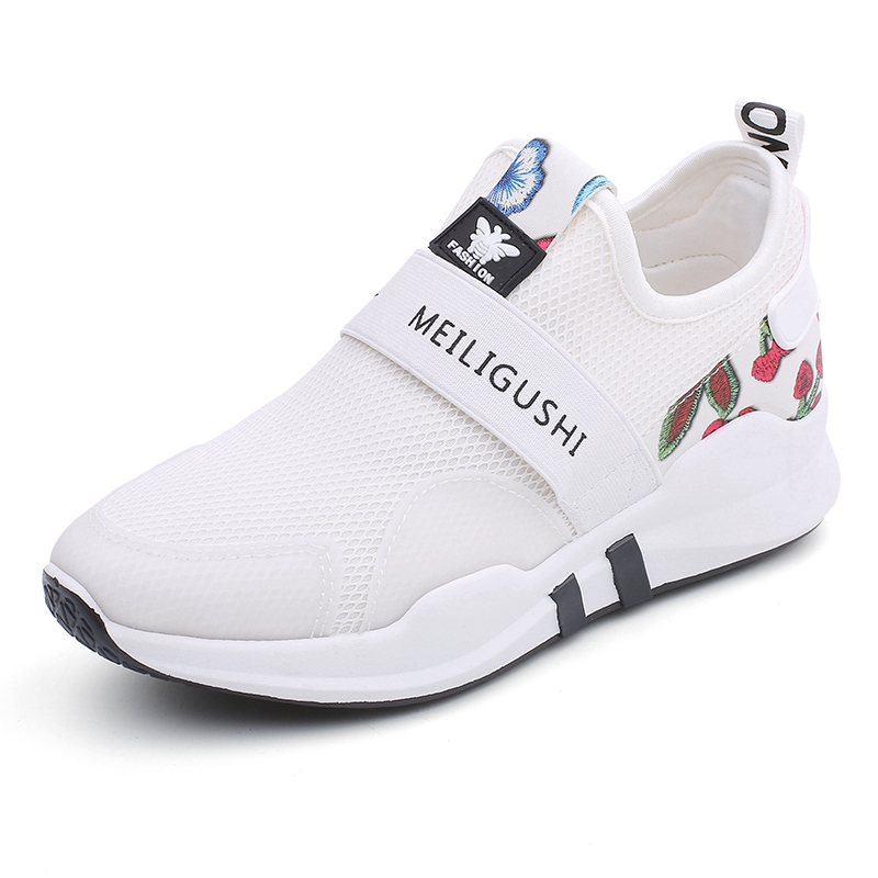 Slip On Sport Shoes Woman Barefoot Running Shoes For Women Printing Flower Walking Shoes Summer White Sneakers Top Quality L62 high quality walking shoes thick crust sneakers female ins the hottest shoes 2018 new small white women s sport shoes wk46