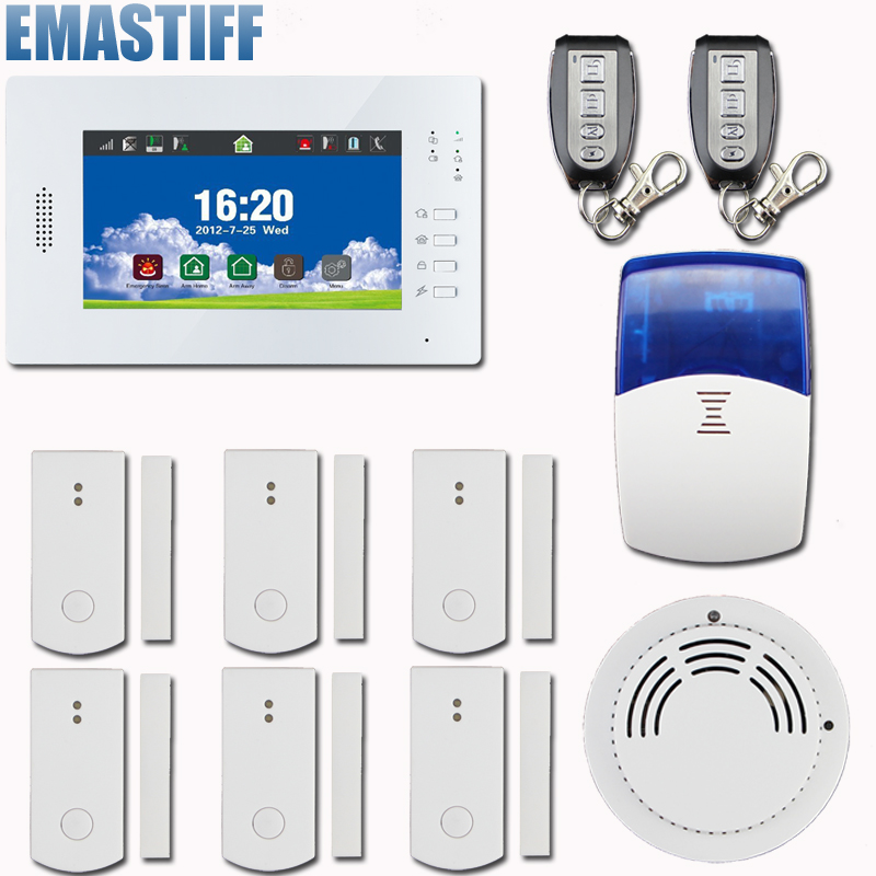 Touch TFT color display Screen wireless GSM SMS Pstn Home Burglar Security Alarm System IOS and Android APP controlled