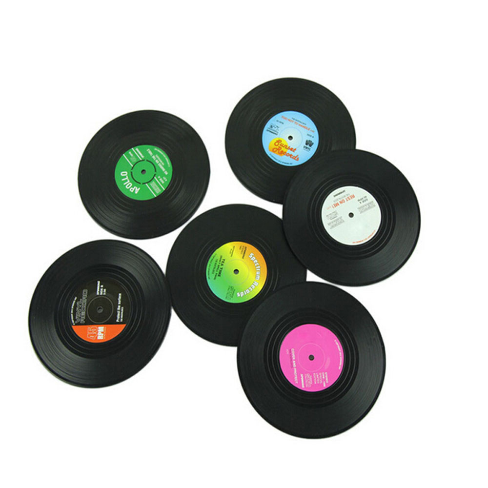 Useful Vinyl Record Coaster Groovy Record Cup Drinks Holder Mat Tableware Placemat Drink Coasters Cup Mat Hot Sale 6