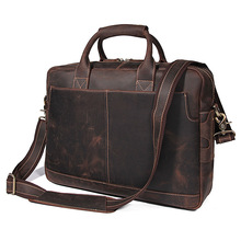 Nesitu Vintage Brown Thick Genuine Crazy Horse Leather Office Men Briefcase 14'' 15.6'' Laptop Portfolio Messenger Bags M7382