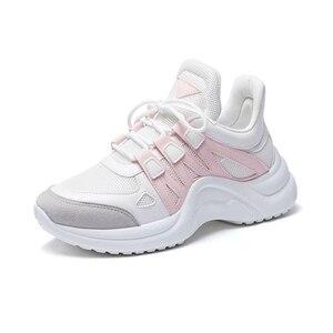 Image 3 - JCHQD 2019 סתיו לגפר נשי אופנה סניקרס תחרה עד רך גבוהה פנאי Footwears רשת לנשימה נשים נעליים יומיומיות