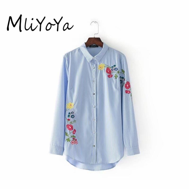 Mliyoya Store MLIYOYA Women Fashion Floral Embroidery Blue Striped Blouses Autumn Long Sleeve Shirts Ladies Casual Tops Blusas