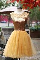 Altın Mezuniyet Elbiseleri Üst Payet Etek Tül Backless Formla Kısa Parti Elbisesi Mezuniyet Elbiseleri