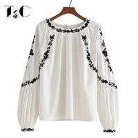 TC Embroidered Blouses 2017 Autumn Back Button O Neck Lantern Sleeve Shirts Boho Blouses Women White