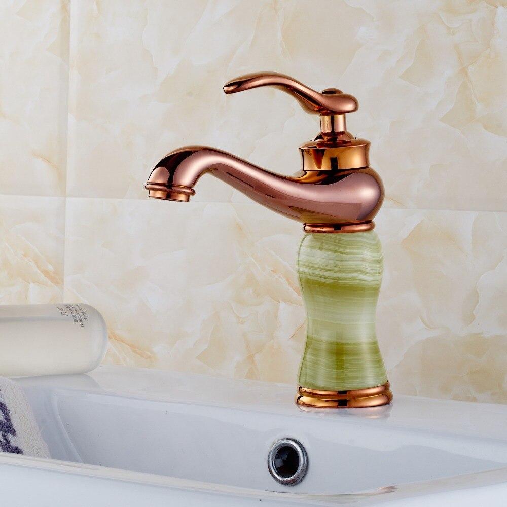 ФОТО Bathroom Rose Golden jade tap bathroom faucet basin sink tap golden waterfall faucet mixer tap Vintage water faucet 5006E