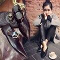 Launceston moda zapatos de mujer del dedo del pie puntiagudo solos zapatos de fondo plano v dipper zapatos de hebilla negro ocasional zapatos de las mujeres femeninas