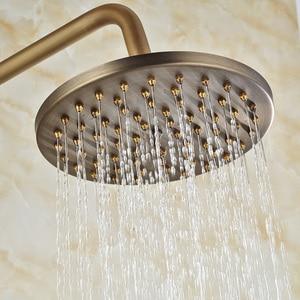 Image 2 - Античный латунный смеситель для душа с дождевой насадкой, набор для ванной комнаты с одной ручкой, настенный смеситель для душа, смеситель для ванной комнаты, смеситель для душа