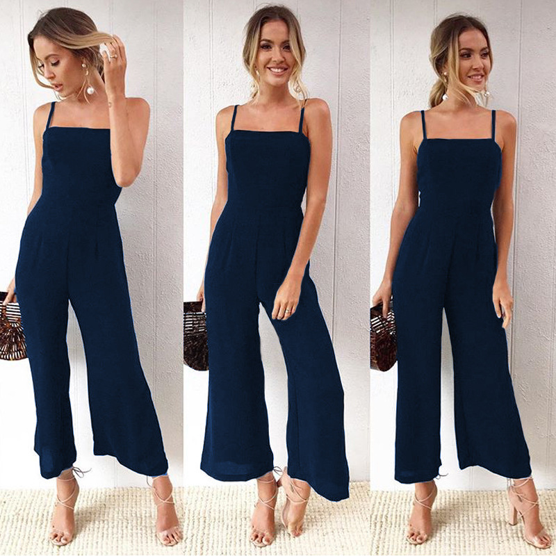 TEMOFON Spaghetti Strap Women Jumpsuits Sexy Solid Rompers Fashion Summer Overall Strapless Jumpsuit Loose Zipper Romper ELD785
