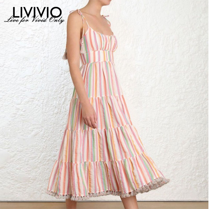LIVIVIO Casual Tassel Patchwork Long Striped Dress Women High Waist Sleeveless Suspender Dresses Female 2019