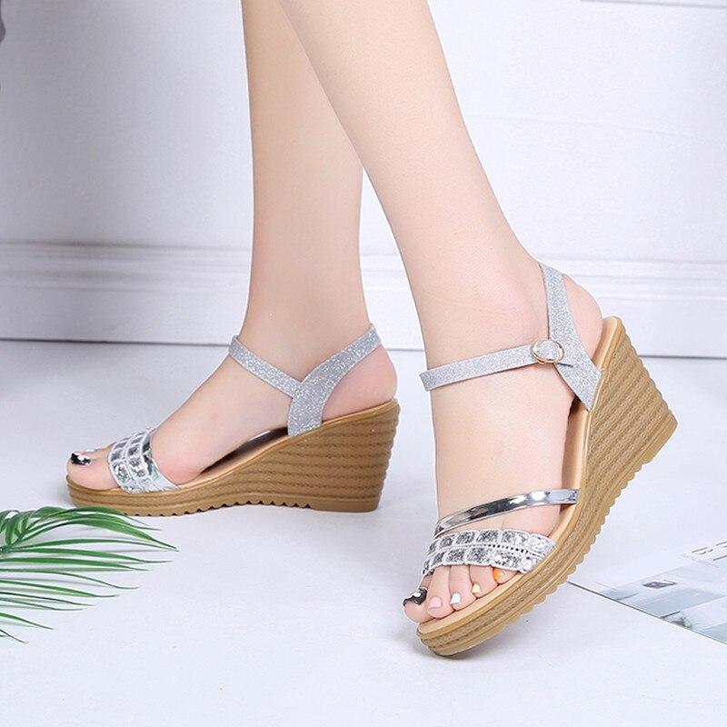 Alto 2018 7 Tacón Plata Cm Sandalias Verano Oro silver Gold Cuñas Zapatos Del De Las Mujer Mujeres Tq4IY0wO1