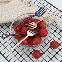 Colorful Shovel Fork Dessert Pudding Scoop Electroplate Stainless Steel Coffee Mixing Scoop Fruit Salad Fork Cutlery 2pcs/set