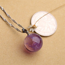 Natural Stones Amethyst Ball Bead Pendants Rope Necklace Purple Crystal Quartz Original Gemstone Energy Gift For Love Jewelry 1pcs natural purple amethyst ball raw gemstone polished crafted gifts crystal home decoration purple quartz stone ball